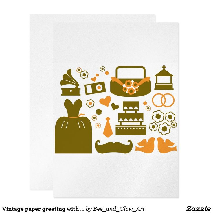 Vintage paper greeting with brown Icons Card