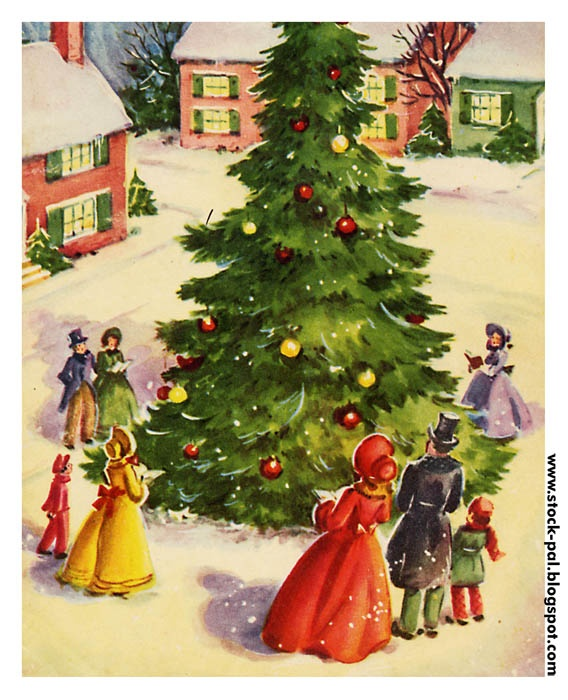 Town Square: Christmas Cards, Vintage Christmas, Christmas Art, Vintage Illustration, Greeting Card, Christmas Carol, Christmas Trees, Merry Christmas, Vintage Cards