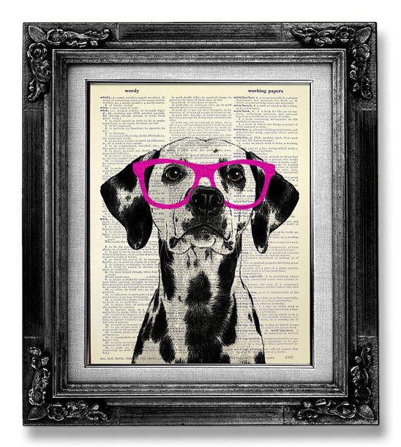 Dalmatian Art, DICTIONARY Art Print, Dictionary Paper, Dog Wall Art, Nerdy DOG Poster, Dog Wall Decor, Dog Artwork, GEEKERY Dog Red Glasses