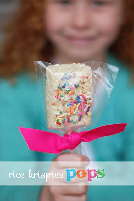 Way too cute and way too simple!  Rice Krispies with sprinkles on a Popsicle stick!