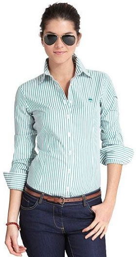 Brooks Brothers Womens Non Iron Tailored Fit Bengal Stripe Dress Shirt   $53.70 (40% Discount)