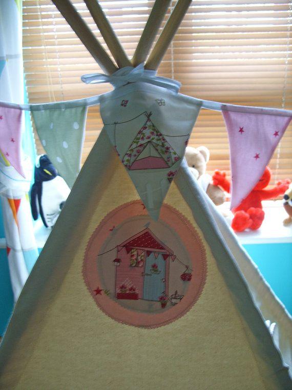 Bunting Kids Teepee Tents Kids Room Decor Fabric by TheTeepeeFairy