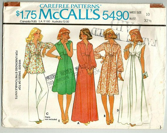 Vintage 70s McCalls 5490 Misses Tie Belt Dress, Maxi Dress or Tunic Top Sewing Pattern Sizes 10 Bust 32.5 Dress or top with zipper in back seam opening has forward and extended shoulder line and collar; tie belts included in front band seams are are drawn thru thread loops. Cap sleeves