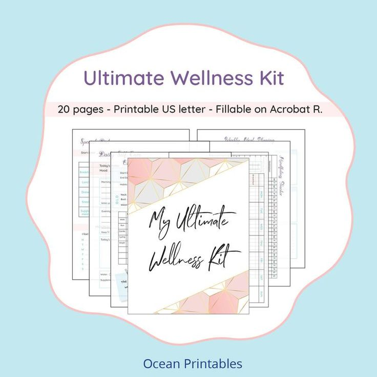Health and Wellness journal, weight loss tracker, fitness log, mindfulness, self care planner, diet planner insert, for Wellbeing & Balance