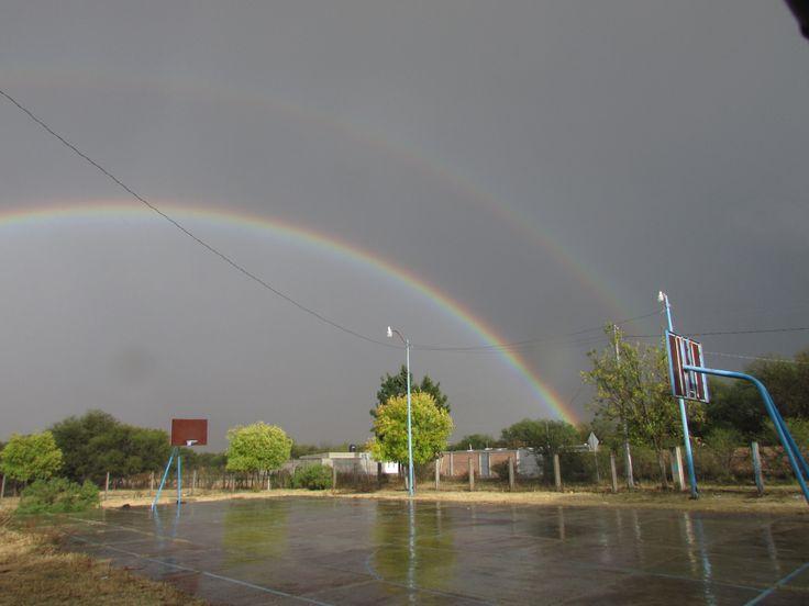 A Double Rainbow(Arcus Pulvia)  after a downpour in Juan Aldama, Durango, Mexico