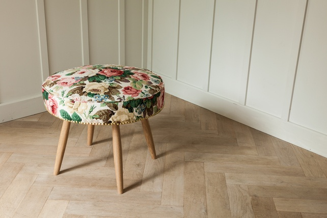 Vintage Stool in 1950's Sanderson Fabric