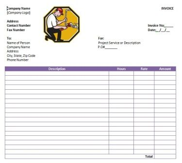Best Free Plumbing Invoice Templates Images On