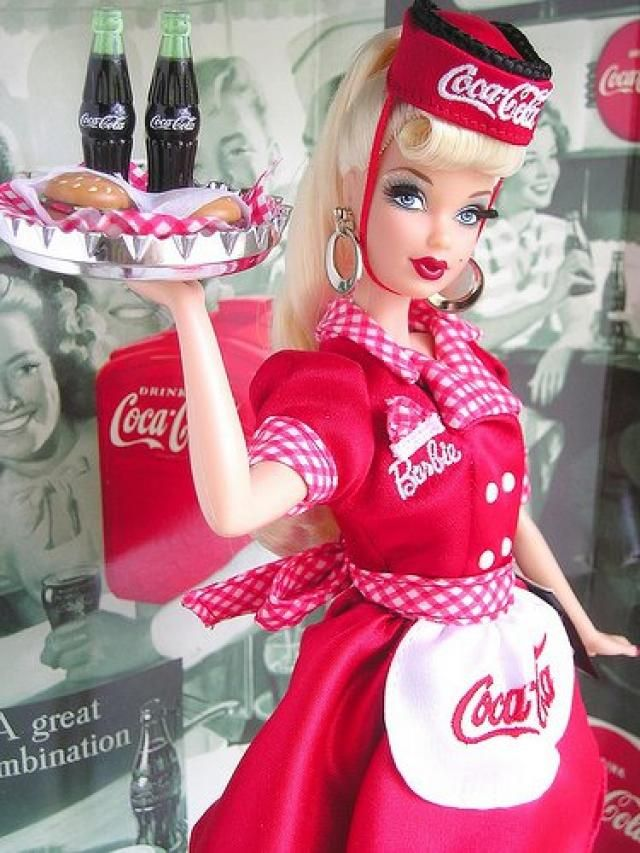 Coca-Cola Waitress Barbie Collector Edition, 1st in the Coca-Cola Barbie 1950's Series, 1998 (I bought her on E-Bay.)