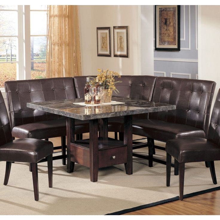 acme furniture danville 4pc marble dining table set