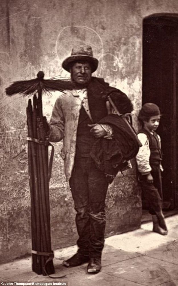 The Chimney Sweep...c1876..Victorian London.Taken by Photographer John Thompson & writer Adolphe Smith..