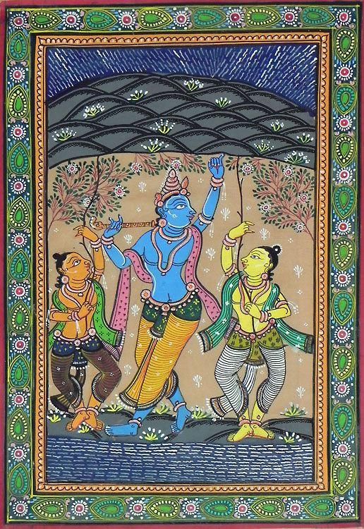 Lord Krishna Lifts Govardhan Mountain (Orissa Paata Painting on Tussar Silk - Unframed)