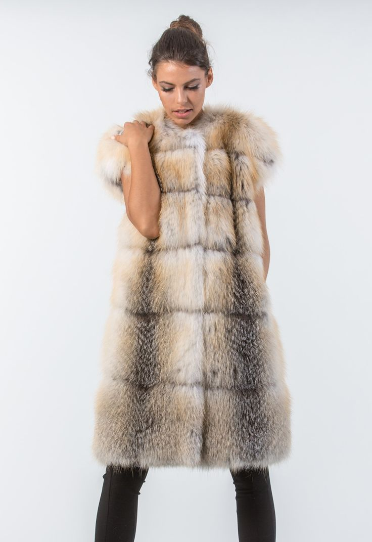 Golden Island Long Fox Fur Vest     #golden #fox #fur #vest #real #style #realfur #naturalfur #elegant #haute #luxury#chic #outfit #women #classy #online #store