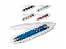 Schrijfset met balpen en vulpotlood in ovaal transparant geschenkverpakking