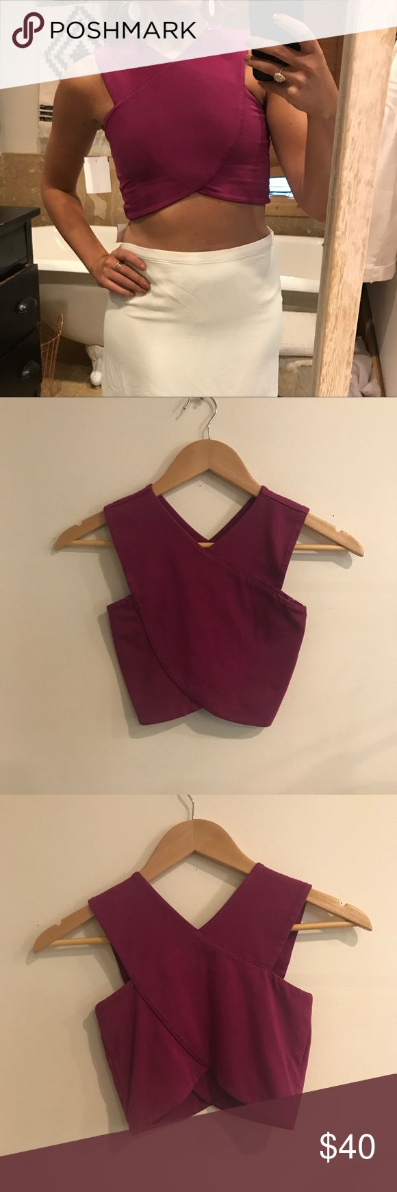 LF Emma & Sam Cross Crop Top Magenta Criss Cross crop top by Emma & Sam. Extremely flattering and comfortable top. I am modeling an XS. XS and S available. LF Tops Crop Tops