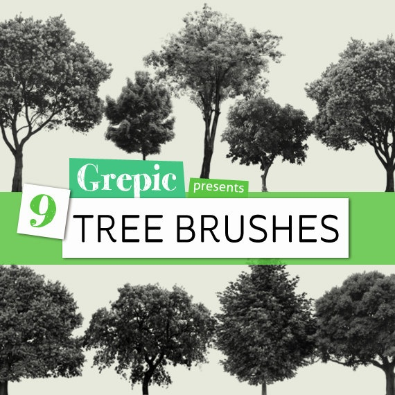 9 Tree Photoshop Brushes by Grepic on Etsy #photoshop #trees #brushes #abr #nature