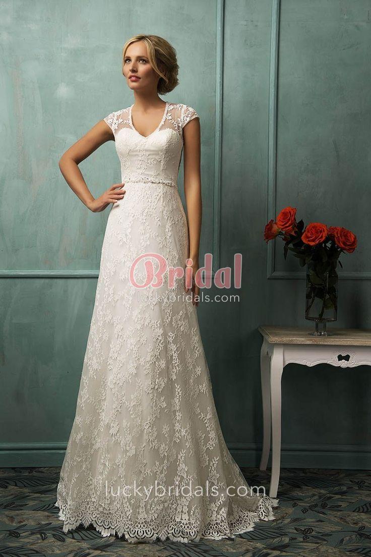 Elegant Vintage Lace Sweetheart Cap Sleeve V-neck A-line Empire Wedding Dress