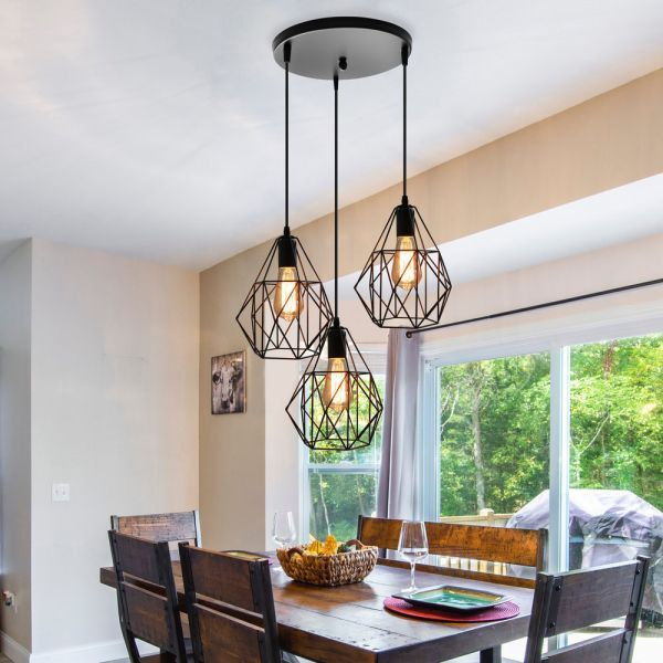 Vintage Style Faceted Cage Ceiling Fixture 3 Bulbs Metal Pendant Lighting With Round Canopy Dining Room Pendant Lights Over Dining Table Dining Table Lighting