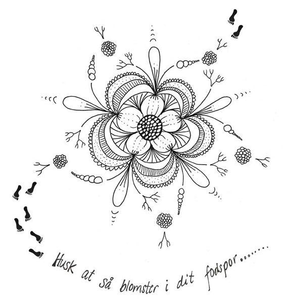 """Photoshopfil af """"Husk at så blomster i dit fodspor"""" (citat Anne Julie). Kreeret af Susanne Randers"""