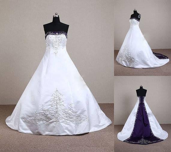 White Amp Purple Wedding Dress