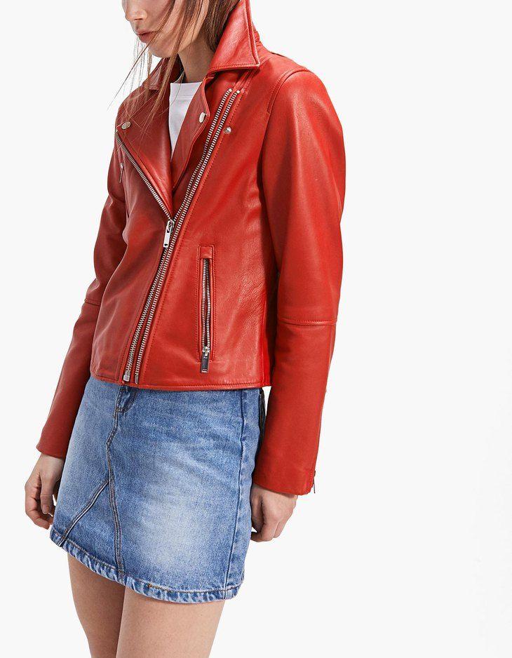 CHAQUETA DE CUERO ROJA STRADIVARIUS #chaqueta