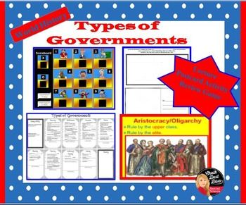 "Types of Governments: Lecture, Postcard Activity, Review Game.  Students will be able to understand the types of governments that exist in the world by reviewing this engaging lecture, playing a fun game: ""Government Squares"", and creating a postcard activity. A creative lecture notes template is included."