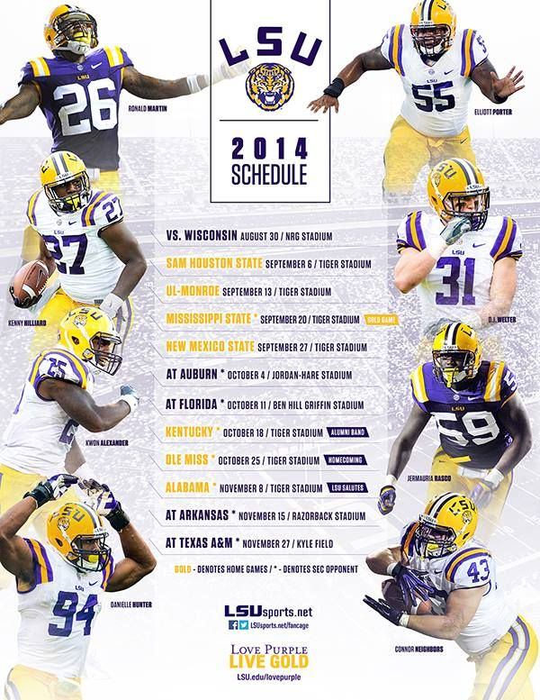 2014 football schedule LSU TIGERS - LSU TIGERS colors purple & gold - Louisiana State University