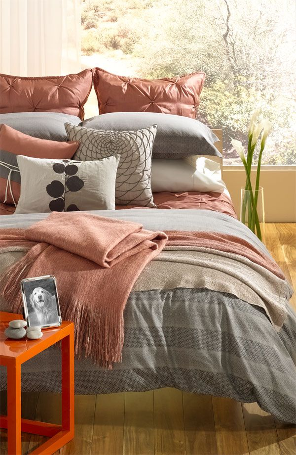 Loving the layering bedding...Nordstrom 'Origami' Duvet Set & Sheet Set. Soft serenity with Asian-inspired overtones.