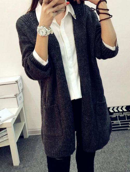 2015 новый женский корейский винтажный стиль длинный кардиган крючком свободного покроя Большой размер открытым стежка трикотажные пальто толстый осень зима женский купить на AliExpress