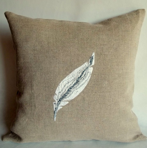 Decorative Pillows Feather : Feather throw pillow, Rustic Decorative pillow cover, Shabby chic, Co?