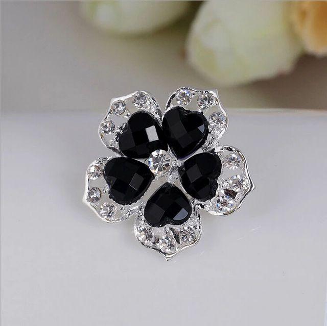 Хрустальный цветок черный белый классическая горный хрусталь брошь букет ну вечеринку свадьба женщины изделия