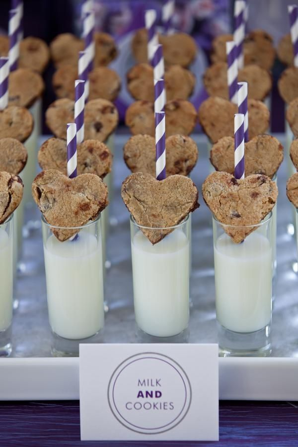 heart shaped cookies and milk. Food and beverage wedding ideas. Make for the kids at the reception
