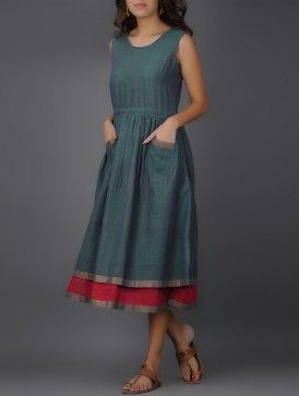 Teal-Pink Round Neck Handwoven Mangalgiri Cotton Layered Dress with Gathers