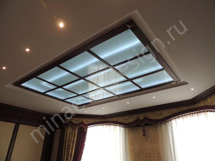 Подвесной стеклянный потолок с подсветкой - студия Ольги Минаевой, Россия, Краснодар.