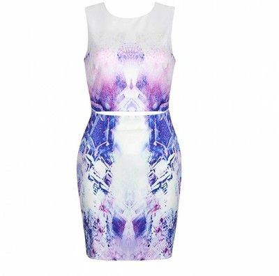 LILAC ABSTRACT PRINT SPLIT WAIST BODYCON DRESS Ally Fashion