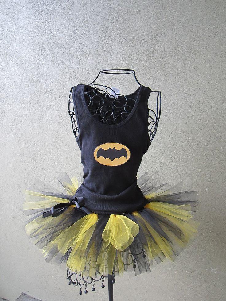 Running Tutu: Batgirl Inspired Custom Racing Tank and Pixie Length (9 inch) Tutu. $50.00, via Etsy.