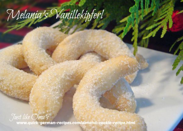 This German Almond Cookie is the traditional vanillekipfel that we love at christmas http://www.quick-german-recipes.com/almond-cookie-recipe.html