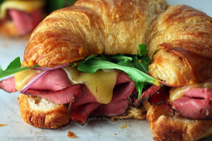Yes, please. Pastrami & gouda croissant sandwich with sweet habanero mustard.