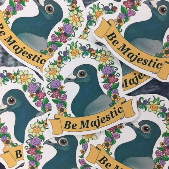 Be Majestic Pigeon Sticker Indoor Vinyl Sticker Funny Planner Bird Lover
