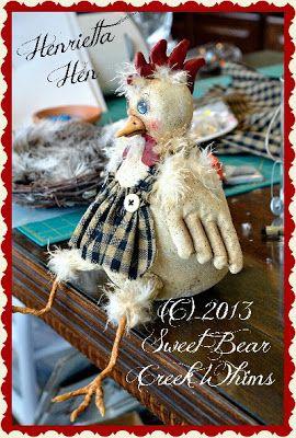 Sweet Bear Creek Whims Happenings...: Henrietta Hen tutorial Part 3