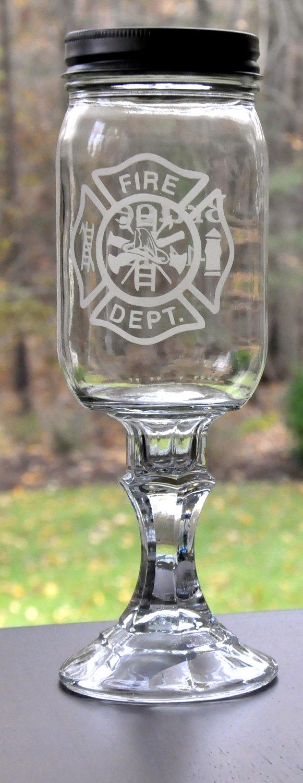 Fire Departmnet Emblem On Etched Southern Wine Glass  Aka Redneck Mason  Jar Wine Glass For