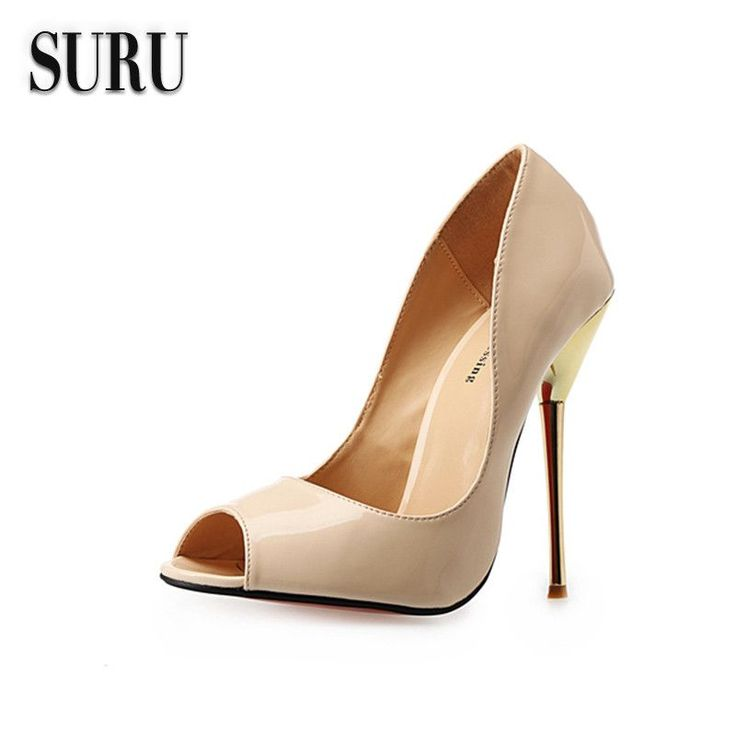 SURU Patent Leather Wide Peep Toe Heels