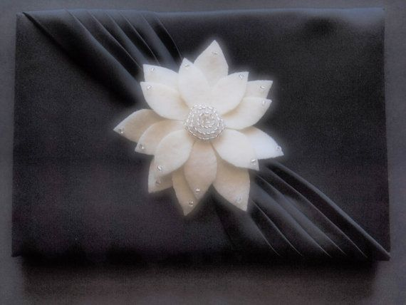 Guest Book Pen and Stand Set Black Silver aster flower choose your colors by ArtisanFeltStudio, $51.00