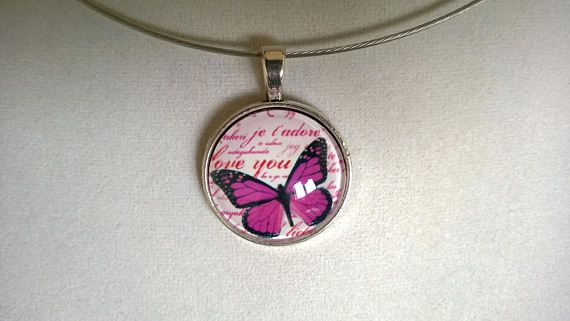 Mothers day gift Butterfly glass cabochon necklace Glass