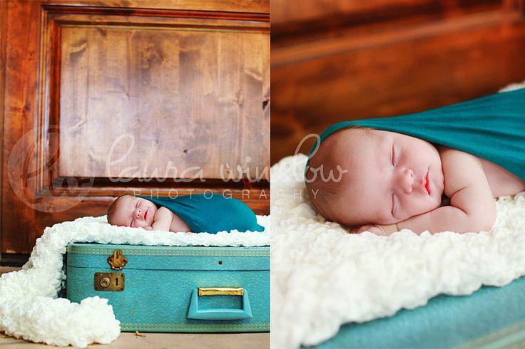 (newborn + vintage suitcase + textured blankie) ^ laura winslow = perfection