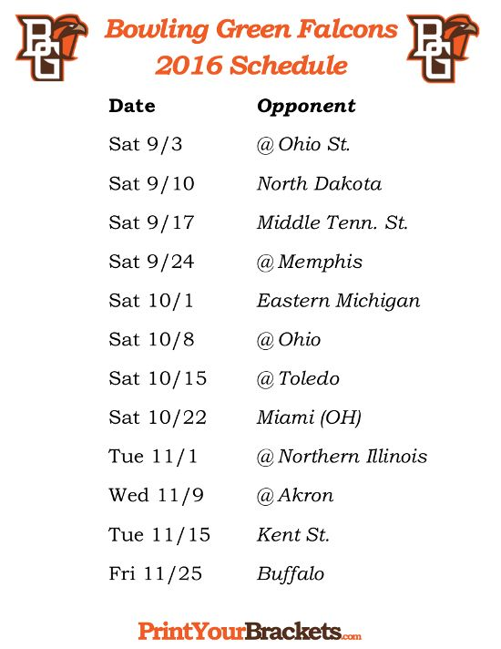 Printable Bowling Green Falcons 2016 Football Schedule