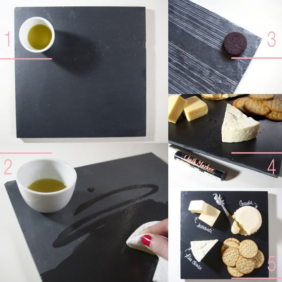 DIY // Slate Cheeseboard (costs $ 5.00 & takes no time at all)