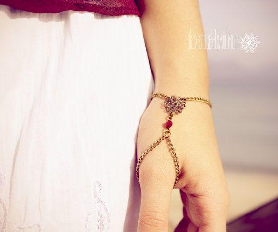 Bronze chain slave bracelet boho hipster hand body jewelry Bohemian filigree style bronze flower red crystal