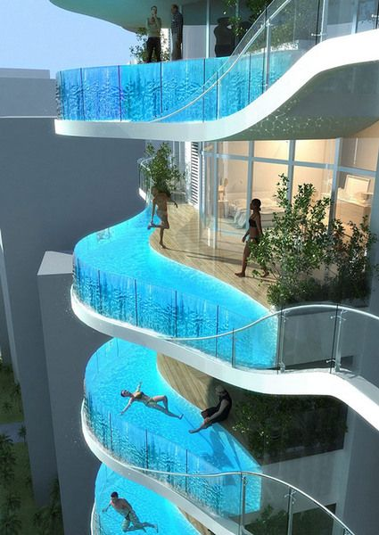 Floating Jewels: Ultra-Luxurious Suspended Balcony Pools    Ultimate urban luxury is the goal with these incredible suspended balcony pools. They are part of a conceptual apartment development for Mumbai, India designed by the James Law architecture firm. The pools appear to float out from each apartment's balcony, suspended seemingly in mid-air thanks to their transparent sides.