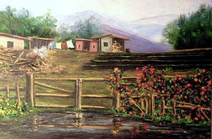 """pintura naif, """"casas familiares en el campo"""""""