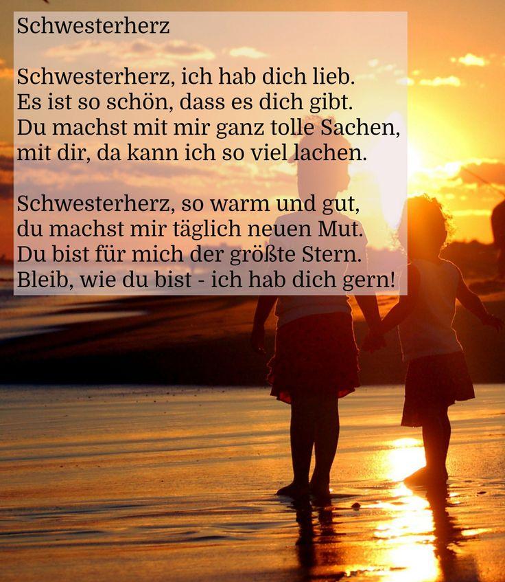 #Gedicht über die #Schwester - #Schwesterherz, ich hab